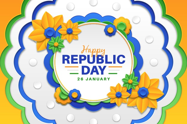 India text with indian flags, famous monuments and glossy balloons green background happy Republic day hd photos Downlods