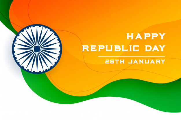 Realistic republic day with hd flag Free Download